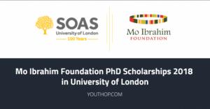 Bourses de doctorat de la Fondation Mo Ibrahim 2018 à l'Université de Londres