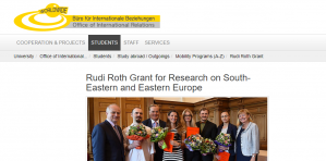 Rudi Roth Grant for Research on South-Eastern and Eastern Europe 2018