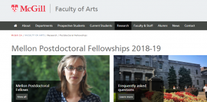 Bourses postdoctorales Mellon de l'Université McGill 2018, Canada