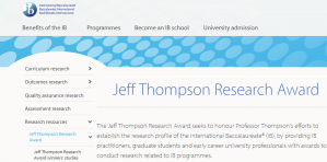 Baccalauréat international Jeff Thompson Research Award 2018