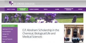 St Cross College E.P. Abraham Scholarship in the Chemical, Biological/Life and Medical Sciences 2018, UK