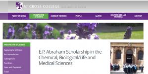 St Cross College E.P. Bourse d'Abraham dans les sciences chimiques, biologiques / sciences de la vie et médicales 2018, Royaume-Uni
