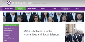 St Cross College MPhil Scholarships in the Humanities and Social Sciences 2018, UK