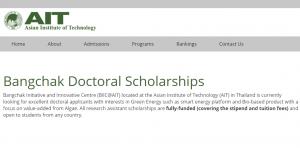 Bourses de doctorat de l'Institut asiatique de technologie Bangchak 2018, Thaïlande