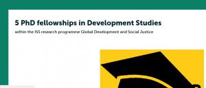 Erasmus university Rotterdam offre 5 bourses de doctorat en études de développement 2018, Pays-Bas