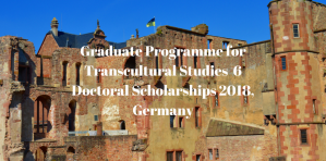Graduate Programme for Transcultural Studies  6 Doctoral Sholarships 2018, Germany
