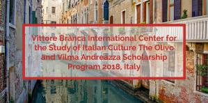 Centre international d'étude de la culture italienne Vittore Branca Programme de bourses d'études Olivo et Vilma Andreazza 2018, Italie