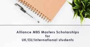Bourses de l'alliance MBS à l'université de Manchester 2018, Royaume-Uni