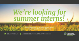 2018 Summer Internship Program in Philippines at The Climate Reality Project