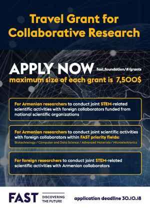 Subvention de voyage pour recherche collaborative 2018-2019, Fondation pour la science et la technologie arménienne (FAST)