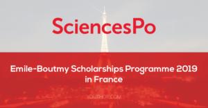 Programme de bourses Emile-Boutmy de Sciences Po 2019 en France