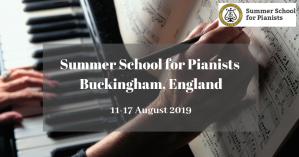 Université d'été pour pianistes, 11-17 août 2019, Angleterre, Royaume-Uni