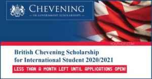 Bourse britannique Chevening pour étudiant international 2020/2021 au Royaume-Uni