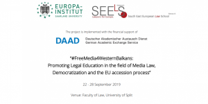 "Summer School ""FreeMedia4WesternBalkans"" at the University of Split"