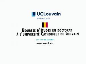 Bourse de doctorat à l'Université Catholique de Louvain  en Belgique
